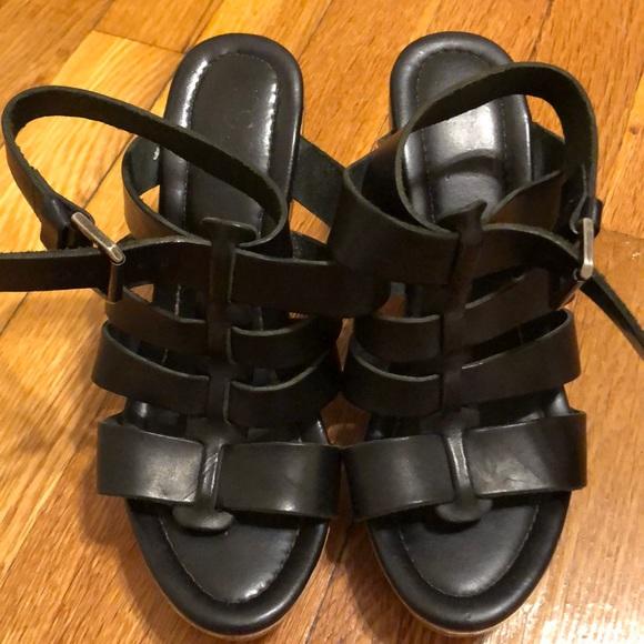 Shoes - Black leather sandal platforms